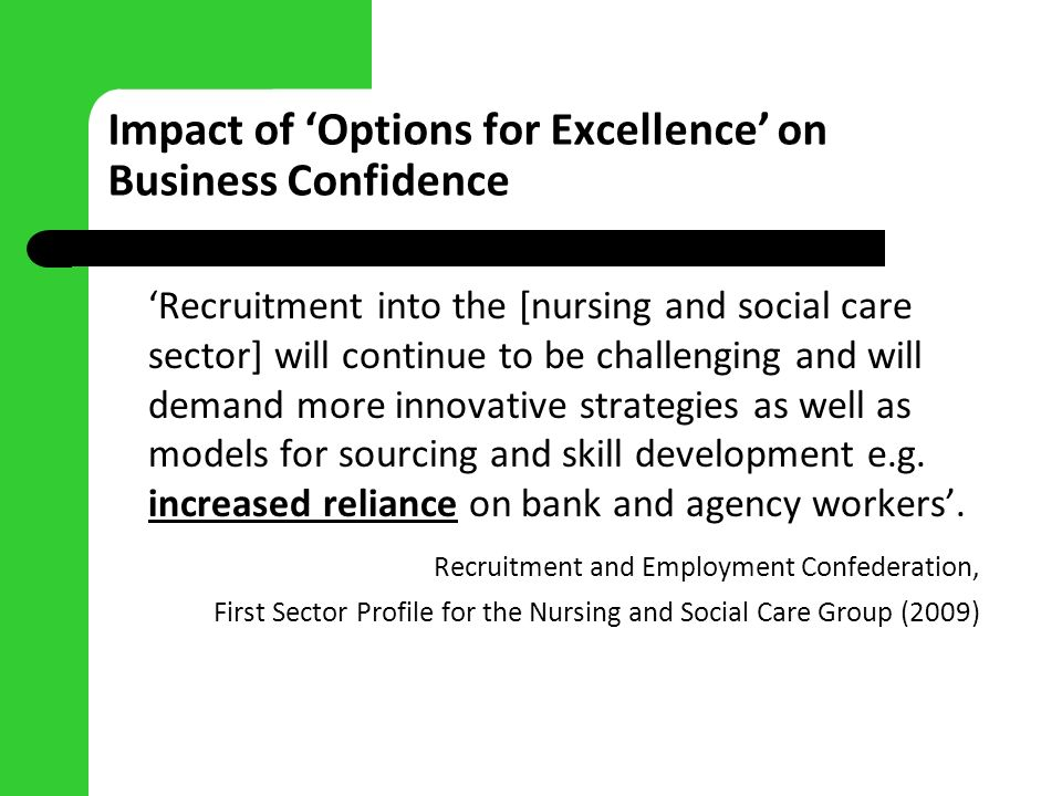 Impact of Options for Excellence on Business Confidence Recruitment into the [nursing and social care sector] will continue to be challenging and will