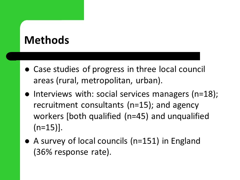 Methods Case studies of progress in three local council areas (rural, metropolitan, urban). Interviews with: social services managers (n=18); recruitm