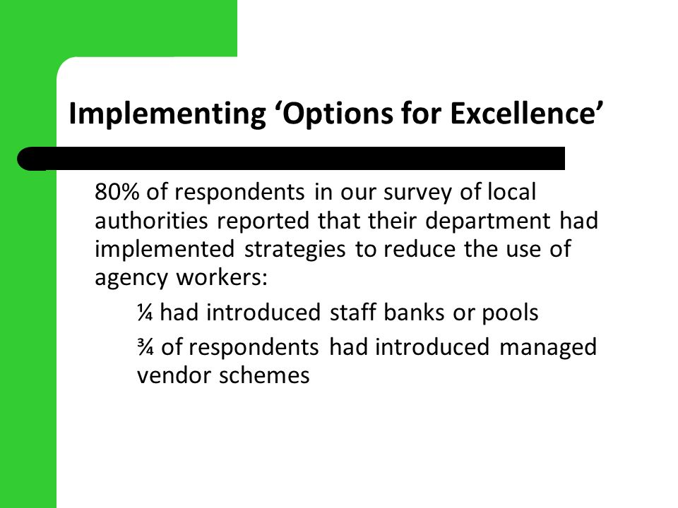 Implementing Options for Excellence 80% of respondents in our survey of local authorities reported that their department had implemented strategies to