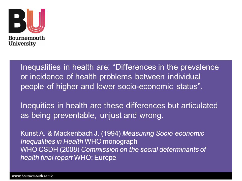 Inequalities in health are: Differences in the prevalence or incidence of health problems between individual people of higher and lower socio-economic status.