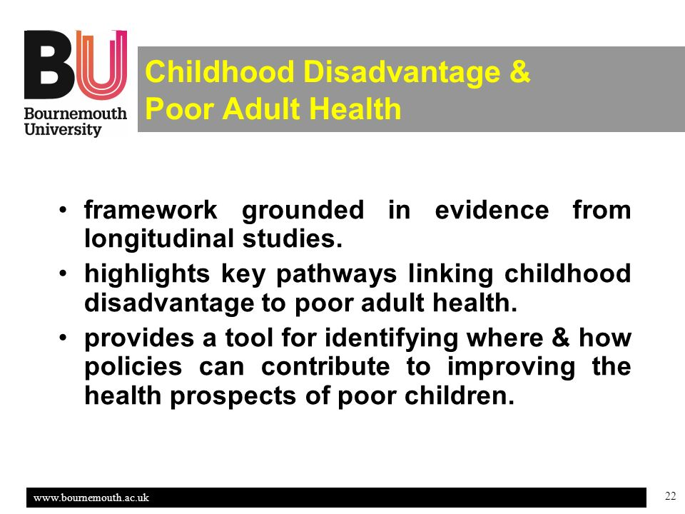 22 Childhood Disadvantage & Poor Adult Health framework grounded in evidence from longitudinal studies.