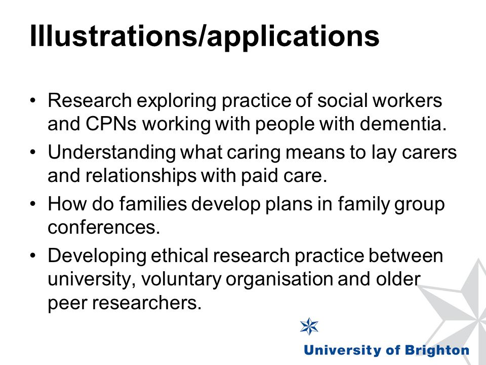 Illustrations/applications Research exploring practice of social workers and CPNs working with people with dementia.