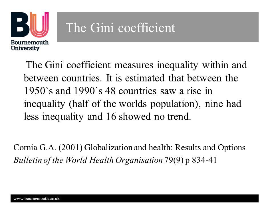 www.bournemouth.ac.uk The Gini coefficient The Gini coefficient measures inequality within and between countries.