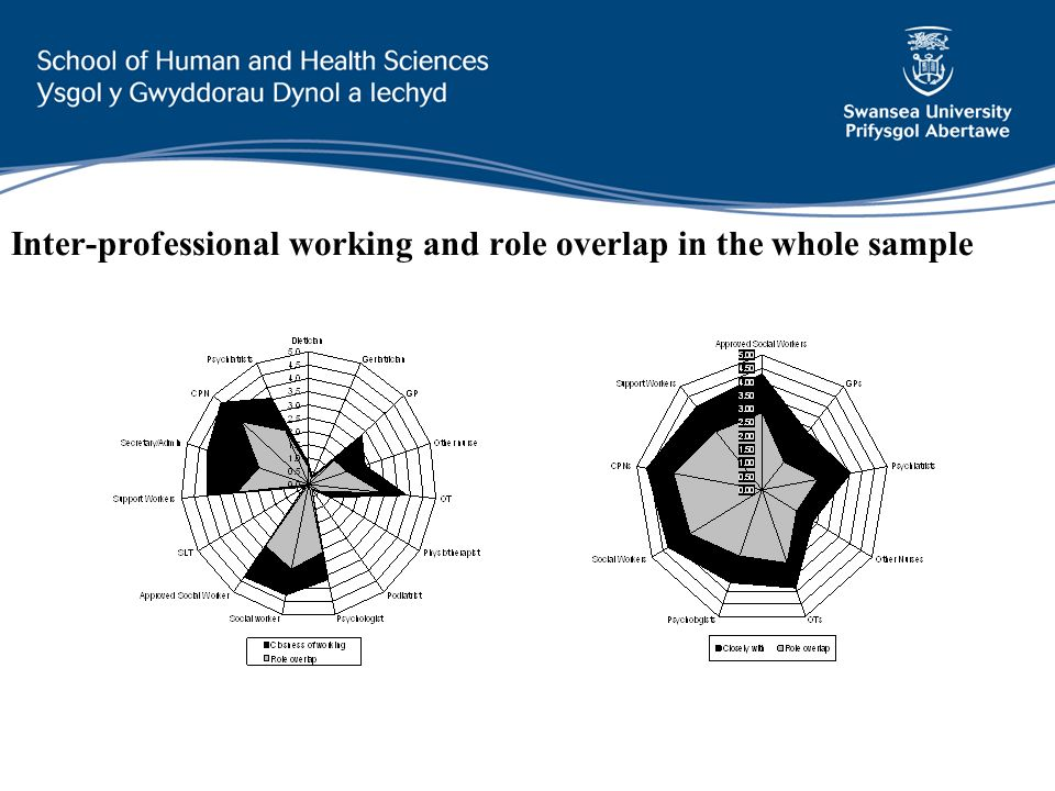 Inter-professional working and role overlap in the whole sample