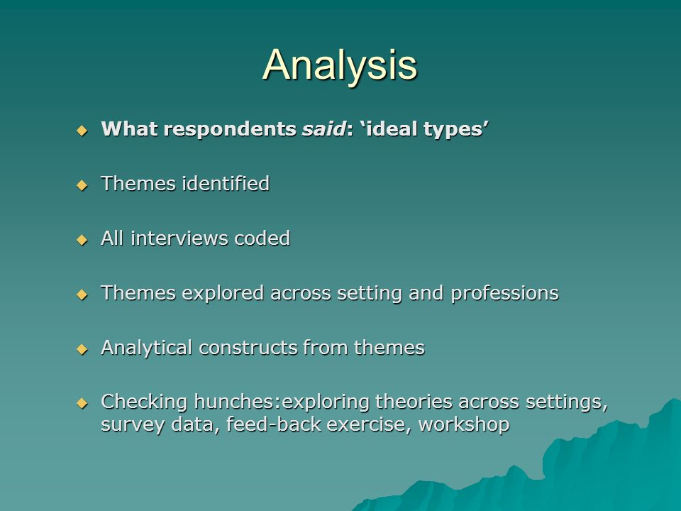 Analysis What respondents said: ideal types What respondents said: ideal types Themes identified Themes identified All interviews coded All interviews
