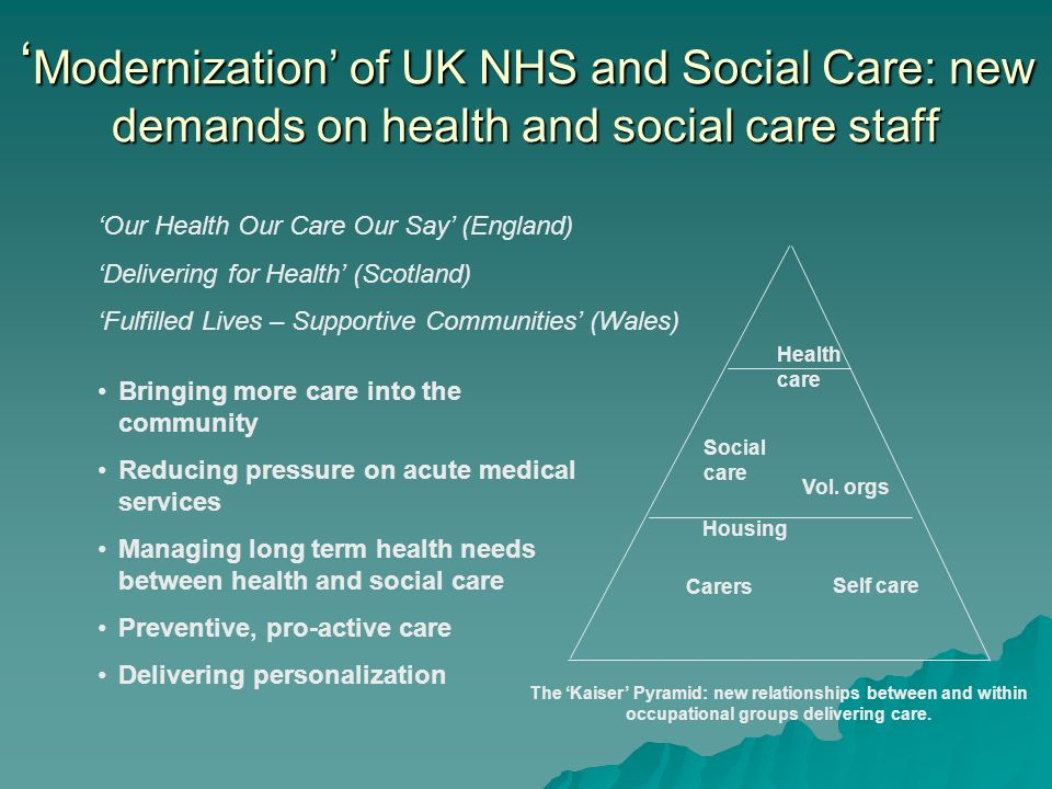 Modernization of UK NHS and Social Care: new demands on health and social care staff Modernization of UK NHS and Social Care: new demands on health an