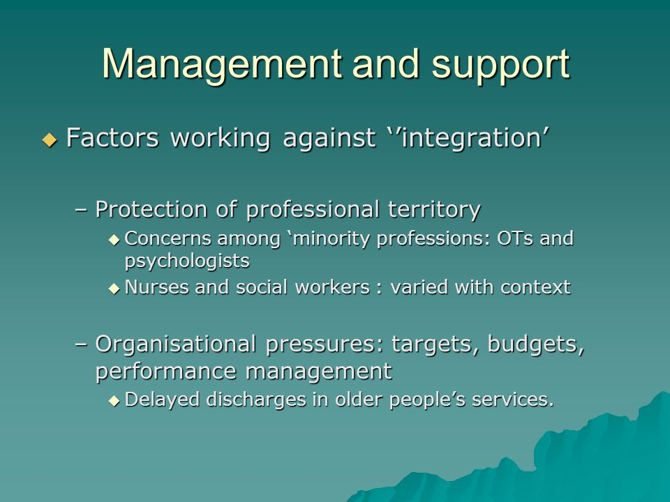 Management and support Factors working against integration Factors working against integration –Protection of professional territory Concerns among mi