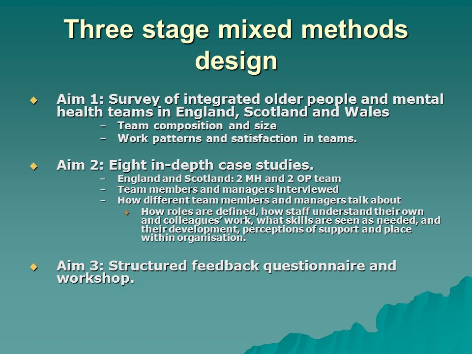 Three stage mixed methods design Aim 1: Survey of integrated older people and mental health teams in England, Scotland and Wales Aim 1: Survey of inte
