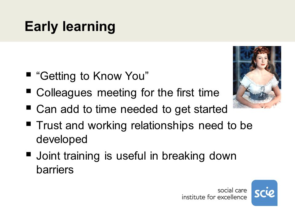 Early learning Getting to Know You Colleagues meeting for the first time Can add to time needed to get started Trust and working relationships need to