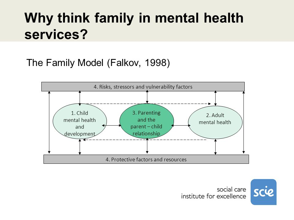 Why think family in mental health services? 3. Parenting and the parent – child relationship 4. Risks, stressors and vulnerability factors 4. Protecti