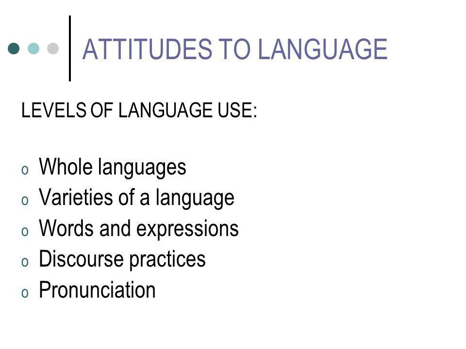ATTITUDES TO LANGUAGE LEVELS OF LANGUAGE USE: o Whole languages o Varieties of a language o Words and expressions o Discourse practices o Pronunciatio