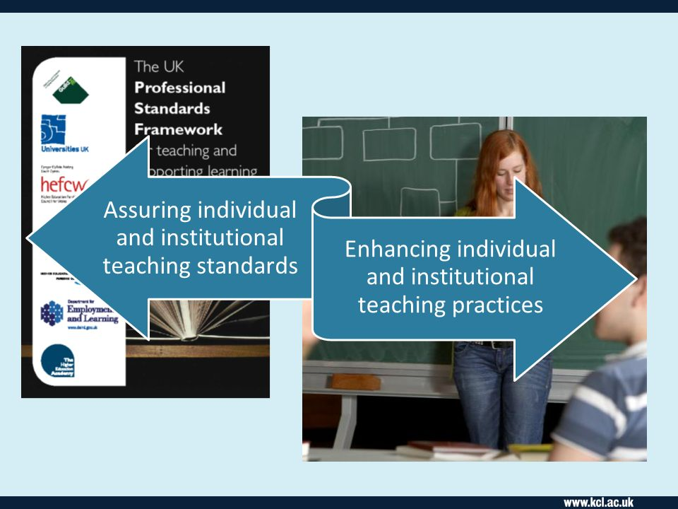 Assuring individual and institutional teaching standards Enhancing individual and institutional teaching practices