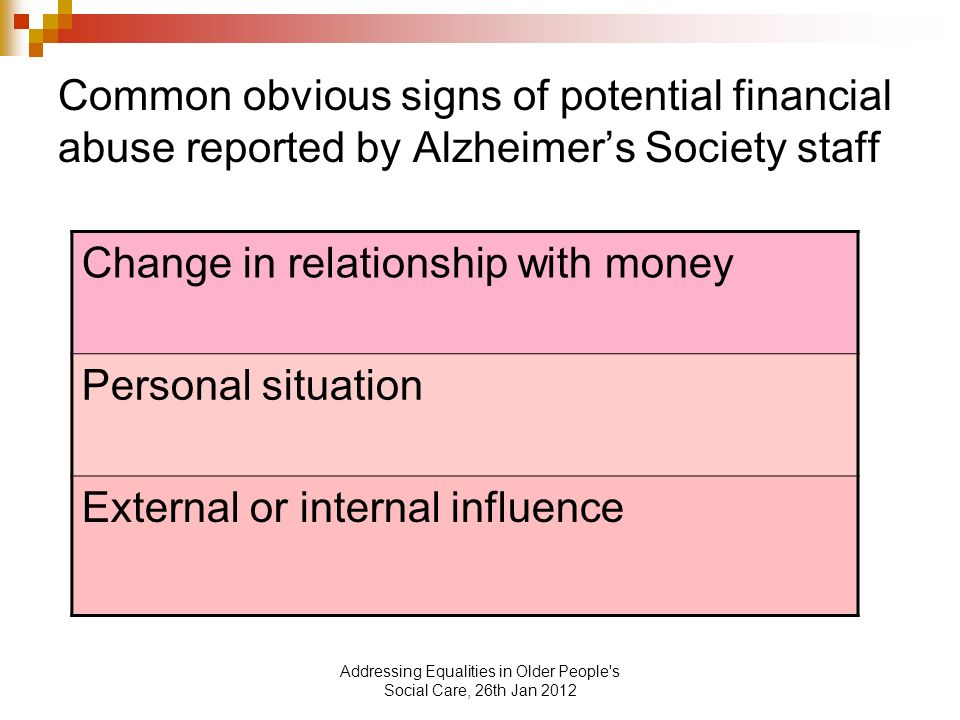Addressing Equalities in Older People s Social Care, 26th Jan 2012 Common obvious signs of potential financial abuse reported by Alzheimers Society staff Change in relationship with money Personal situation External or internal influence