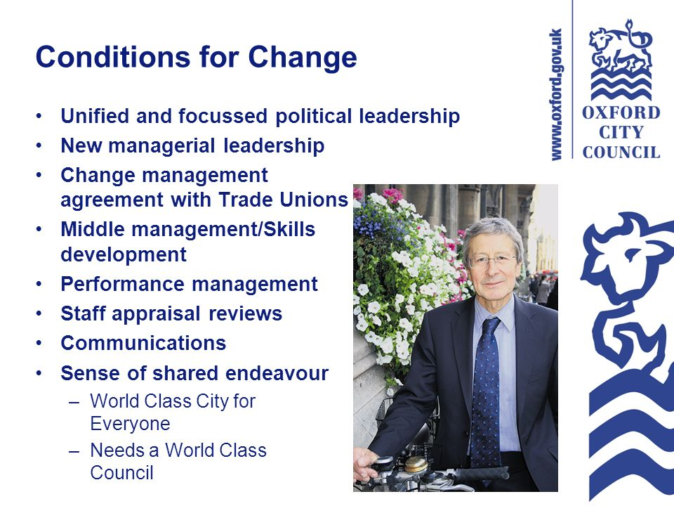 Conditions for Change Unified and focussed political leadership New managerial leadership Change management agreement with Trade Unions Middle management/Skills development Performance management Staff appraisal reviews Communications Sense of shared endeavour –World Class City for Everyone –Needs a World Class Council