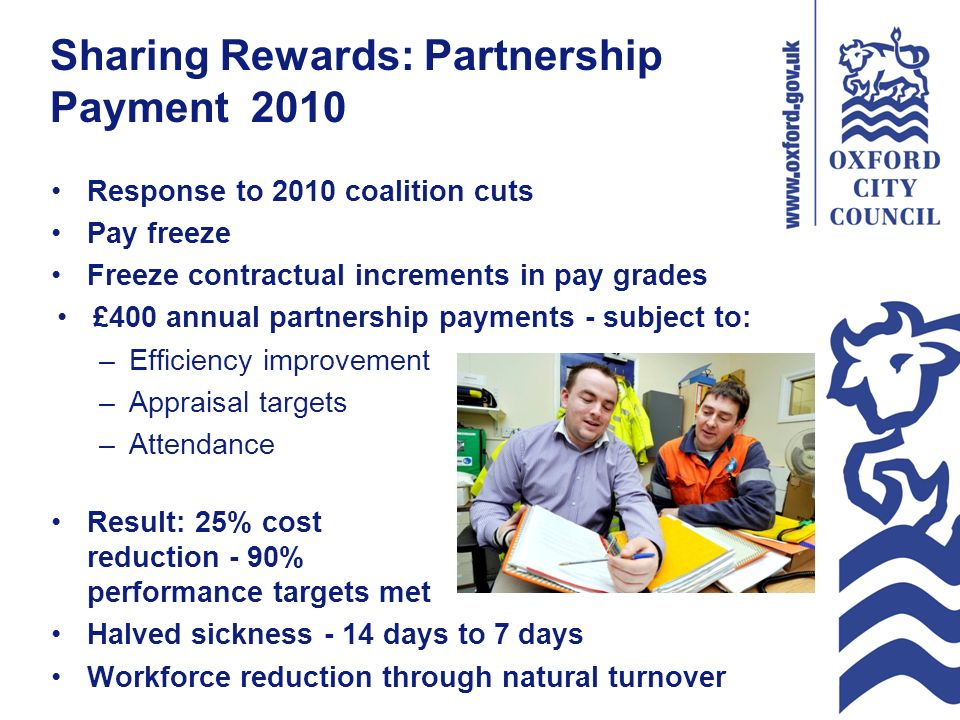 Sharing Rewards: Partnership Payment 2010 Response to 2010 coalition cuts Pay freeze Freeze contractual increments in pay grades £400 annual partnership payments - subject to: –Efficiency improvement –Appraisal targets –Attendance Result: 25% cost reduction - 90% performance targets met Halved sickness - 14 days to 7 days Workforce reduction through natural turnover