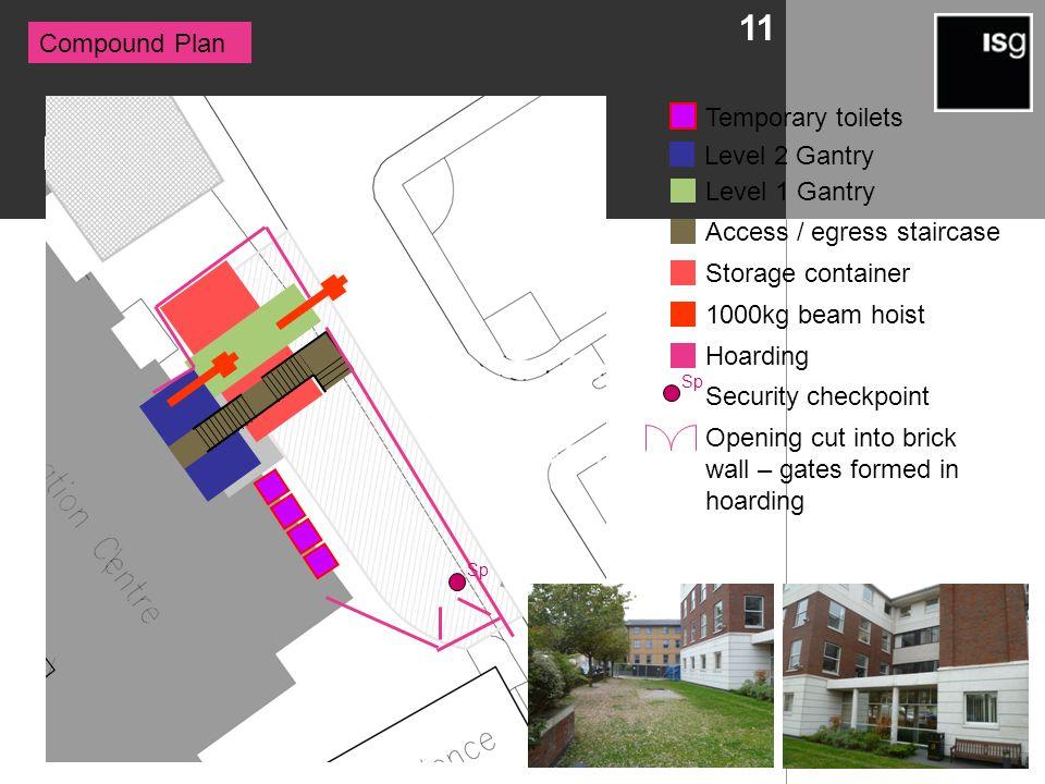 Logistics 11 Compound Plan Level 2 Gantry Level 1 Gantry Access / egress staircase Storage container 1000kg beam hoist Hoarding Sp Security checkpoint