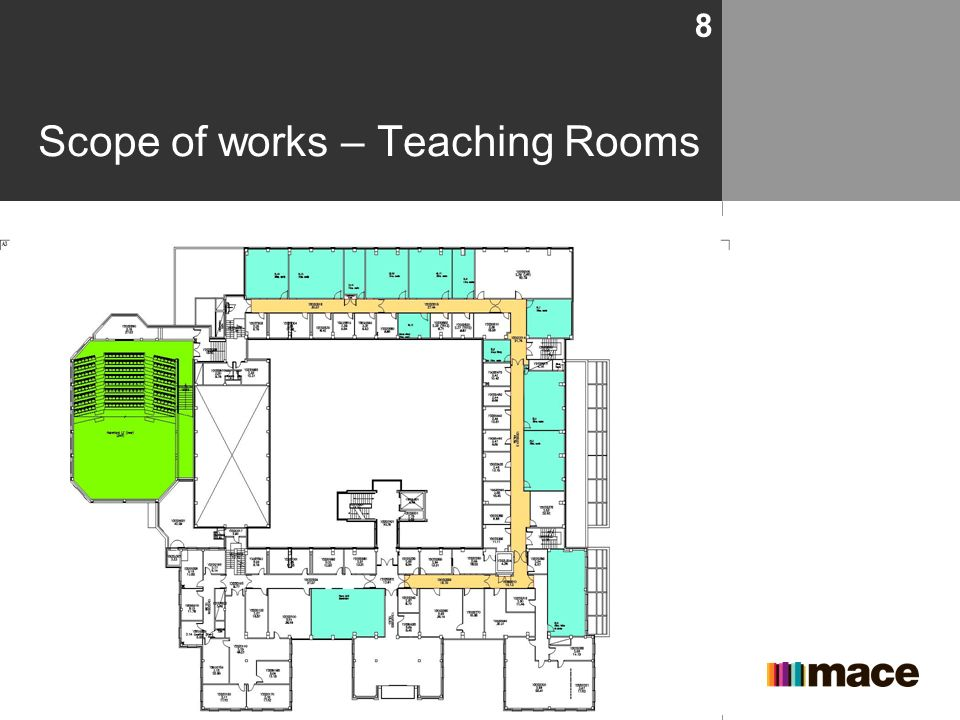 Scope of works – Teaching Rooms Presentation title footer 8