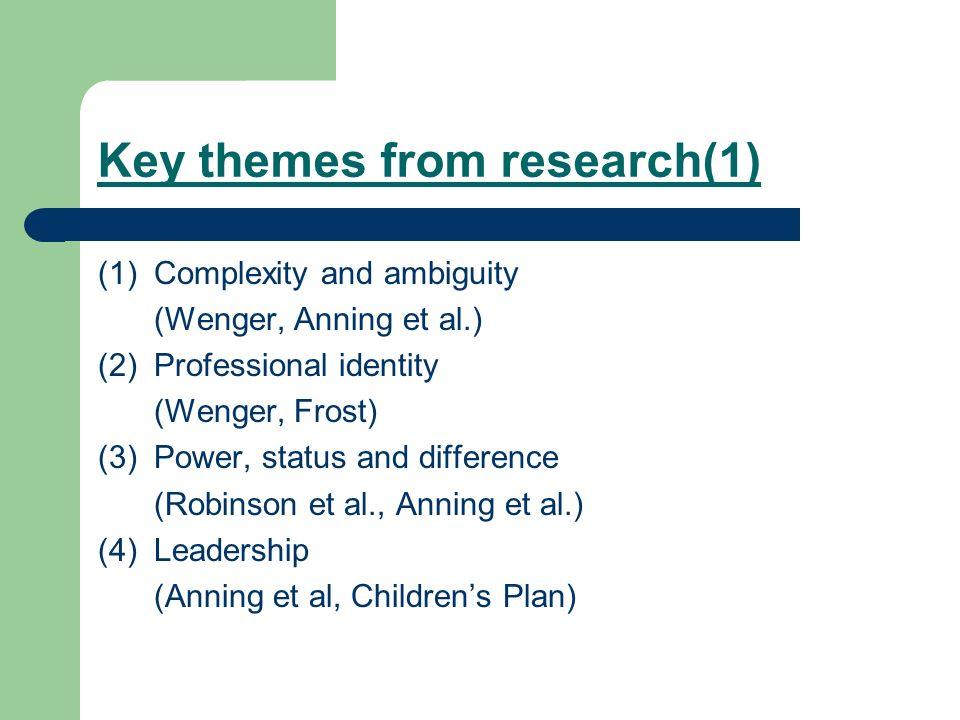 Key themes from research(1) (1)Complexity and ambiguity (Wenger, Anning et al.) (2)Professional identity (Wenger, Frost) (3)Power, status and differen