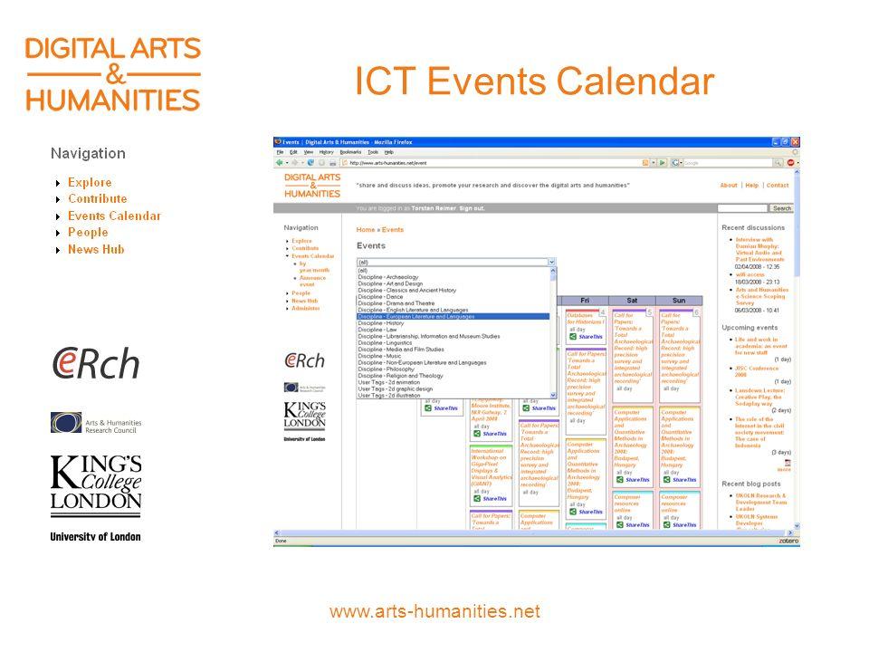 www.arts-humanities.net ICT Events Calendar