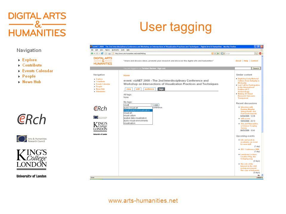 www.arts-humanities.net User tagging