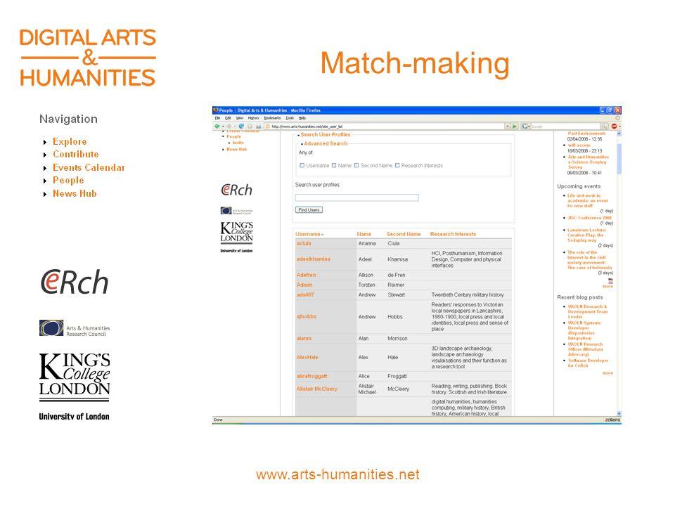 www.arts-humanities.net Match-making
