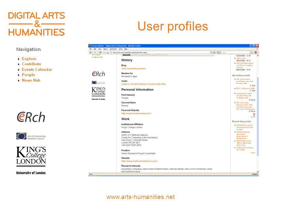www.arts-humanities.net User profiles