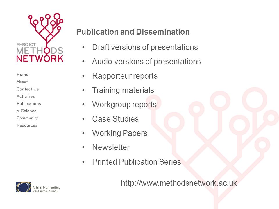 Publication and Dissemination Draft versions of presentations Audio versions of presentations Rapporteur reports Training materials Workgroup reports