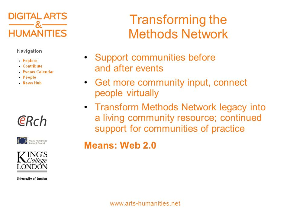 www.arts-humanities.net Transforming the Methods Network Support communities before and after events Get more community input, connect people virtually Transform Methods Network legacy into a living community resource; continued support for communities of practice Means: Web 2.0