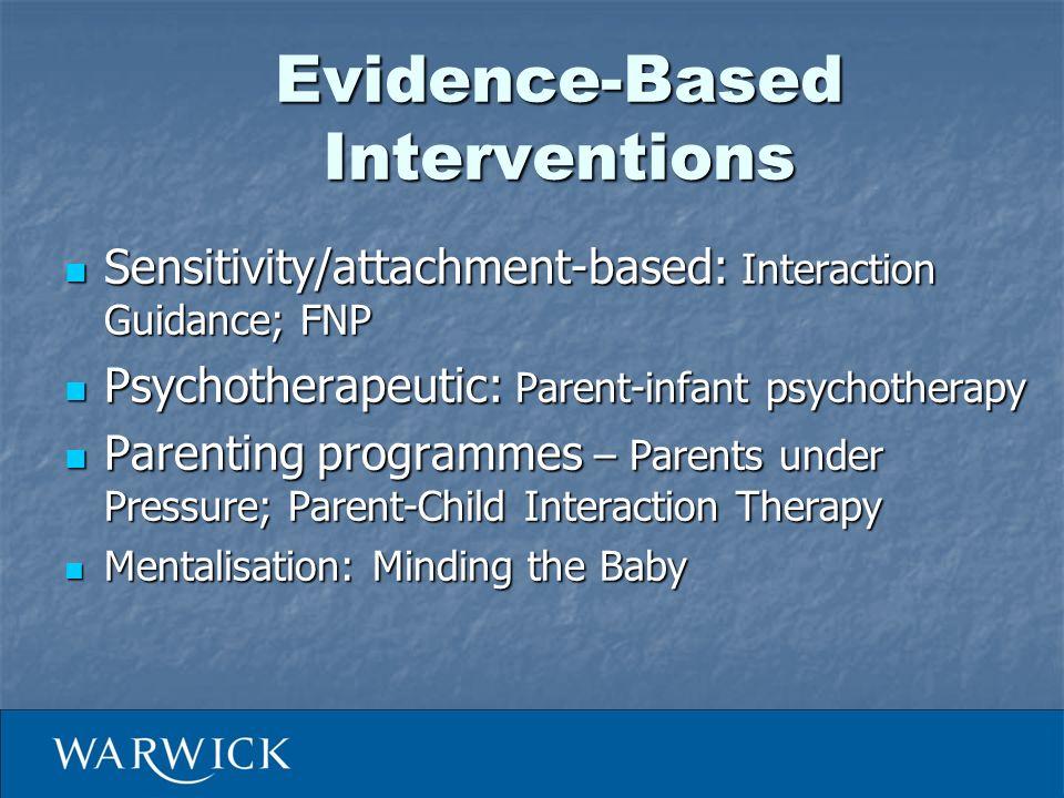 Evidence-Based Interventions Sensitivity/attachment-based: Interaction Guidance; FNP Sensitivity/attachment-based: Interaction Guidance; FNP Psychothe