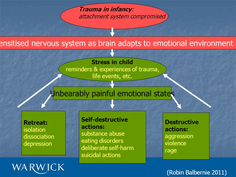 Trauma in infancy: attachment system compromised Sensitised nervous system as brain adapts to emotional environment Stress in child reminders & experi