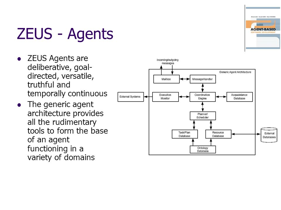 ZEUS - Agents ZEUS Agents are deliberative, goal- directed, versatile, truthful and temporally continuous The generic agent architecture provides all