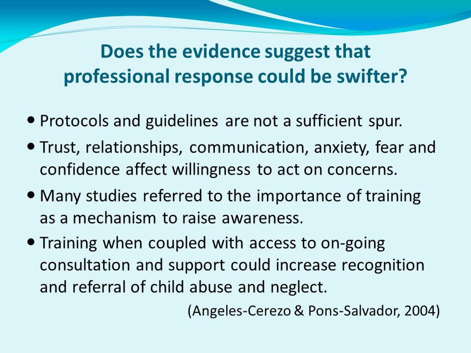 Does the evidence suggest that professional response could be swifter.