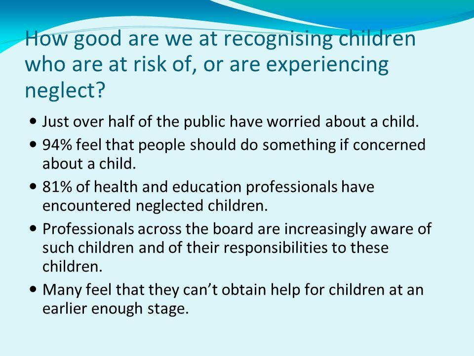 How good are we at recognising children who are at risk of, or are experiencing neglect? Just over half of the public have worried about a child. 94%
