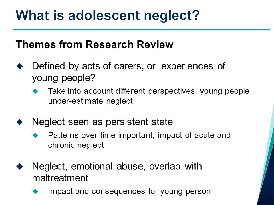 Themes from Research Review Defined by acts of carers, or experiences of young people.