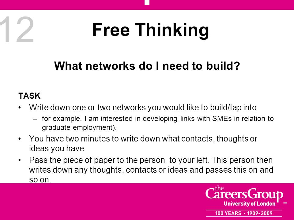 12 Free Thinking What networks do I need to build? TASK Write down one or two networks you would like to build/tap into –for example, I am interested