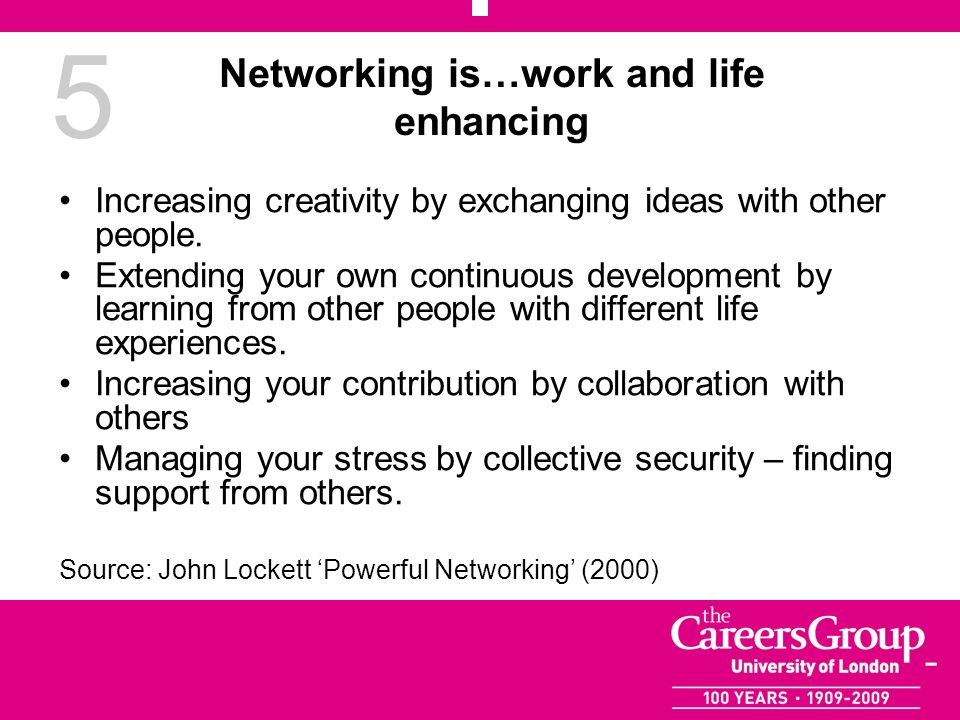 5 Networking is…work and life enhancing Increasing creativity by exchanging ideas with other people. Extending your own continuous development by lear