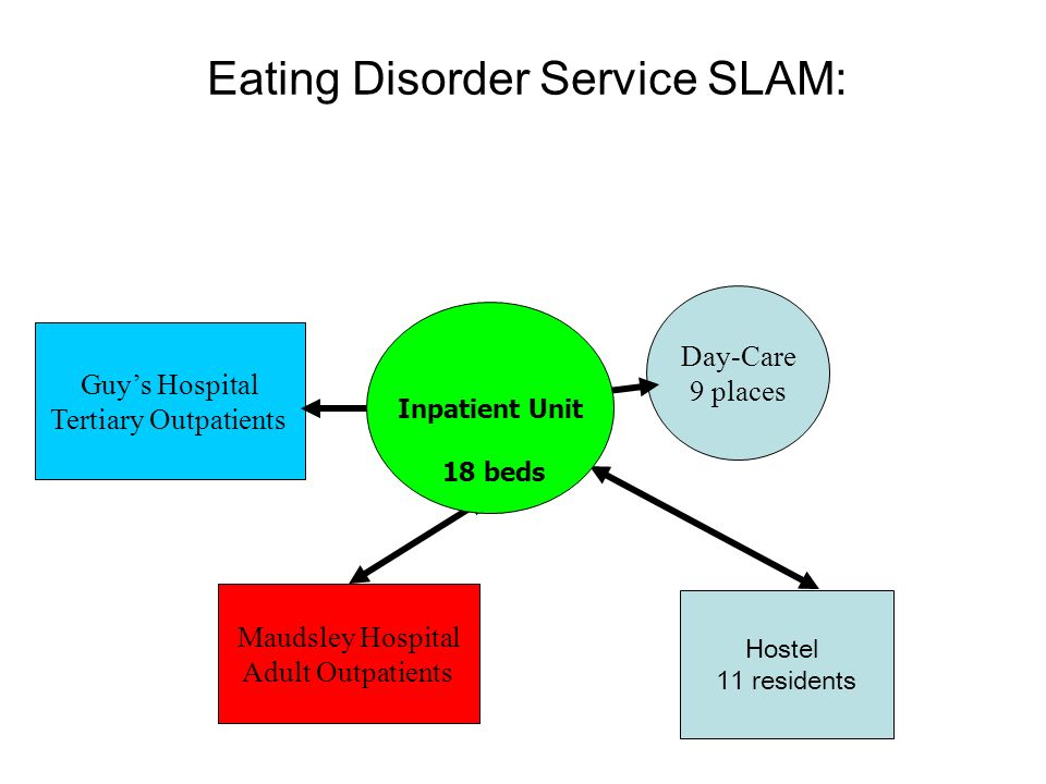 Eating Disorder Service SLAM: Day-Care 9 places Maudsley Hospital Adult Outpatients Guys Hospital Tertiary Outpatients Inpatient Unit 18 beds Hostel 1