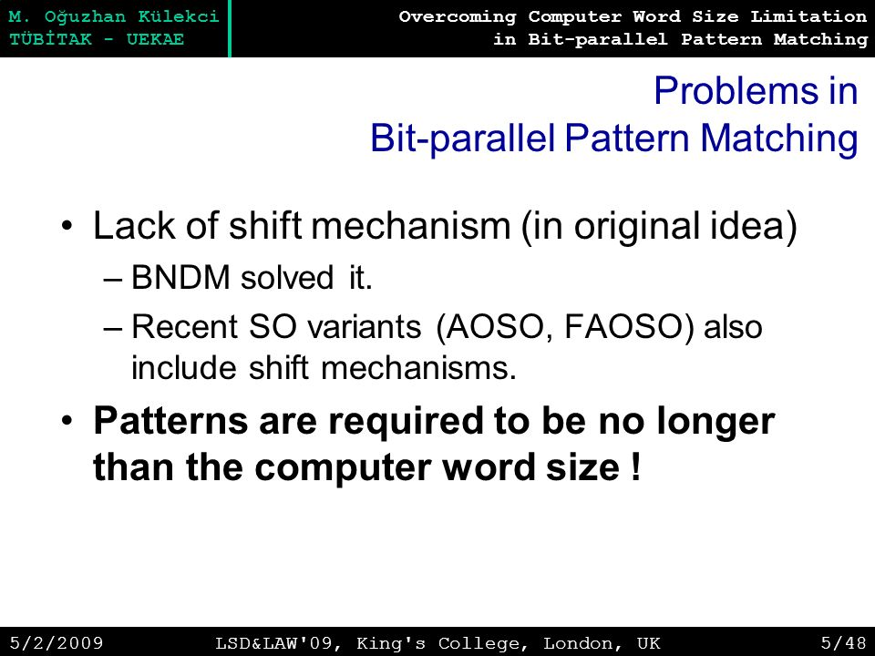 Overcoming Computer Word Size Limitation in Bit-parallel Pattern Matching M.