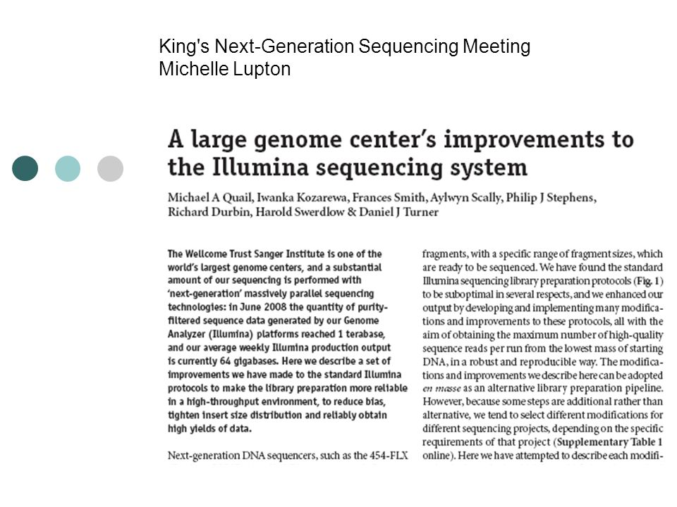 King's Next-Generation Sequencing Meeting Michelle Lupton