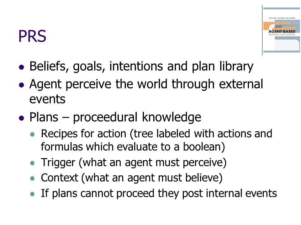 PRS Beliefs, goals, intentions and plan library Agent perceive the world through external events Plans – proceedural knowledge Recipes for action (tre