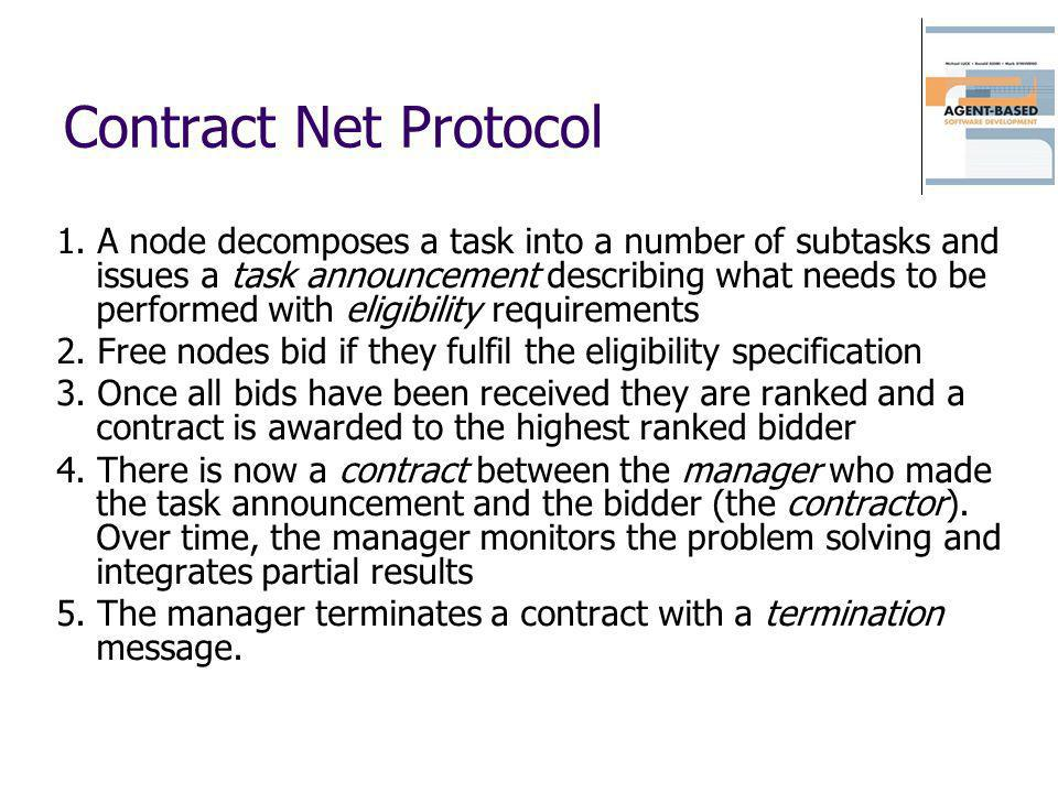 Contract Net Protocol 1. A node decomposes a task into a number of subtasks and issues a task announcement describing what needs to be performed with