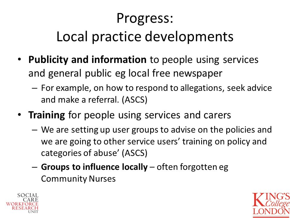 Progress: Local practice developments Publicity and information to people using services and general public eg local free newspaper – For example, on how to respond to allegations, seek advice and make a referral.