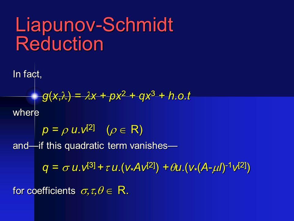 Liapunov-SchmidtReduction In fact, g(x, ) = x + px 2 + qx 3 + h.o.t where p = u.v [2] ( R) andif this quadratic term vanishes q = u.v [3] + u.(v * Av [2] ) + u.(v * (A- I) -1 v [2] ) for coefficients R.