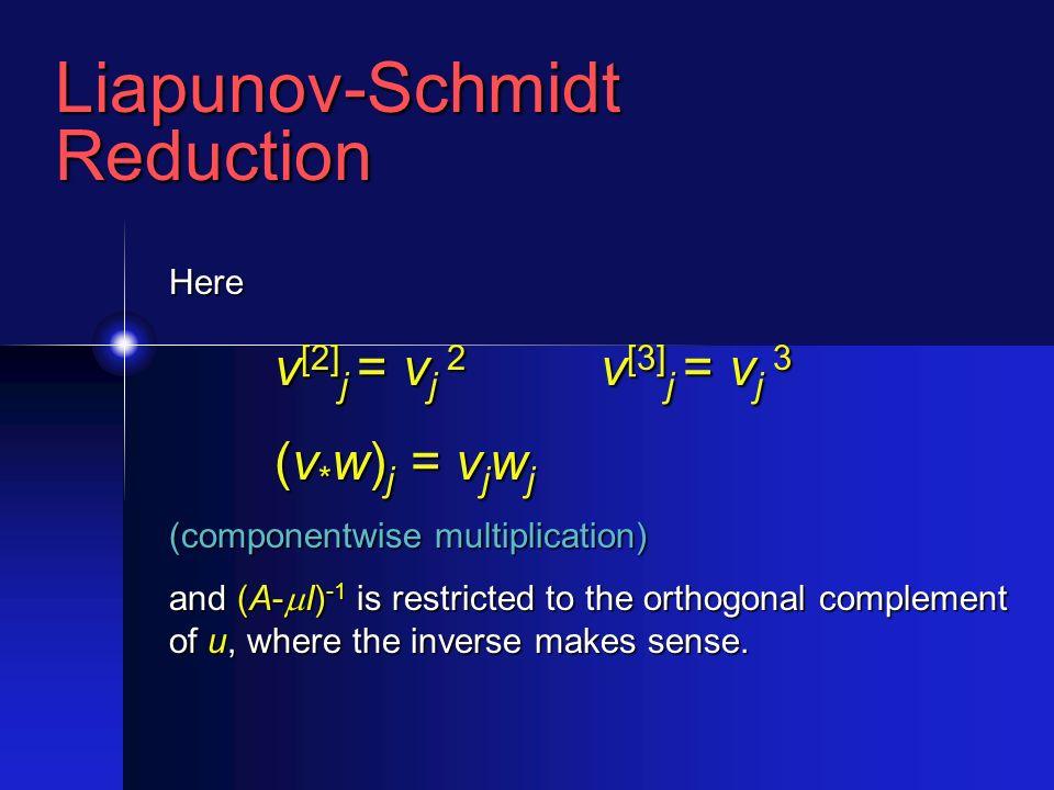 Liapunov-SchmidtReduction Here v [2] j = v j 2 v [3] j = v j 3 (v * w) j = v j w j (componentwise multiplication) and (A- I) -1 is restricted to the orthogonal complement of u, where the inverse makes sense.