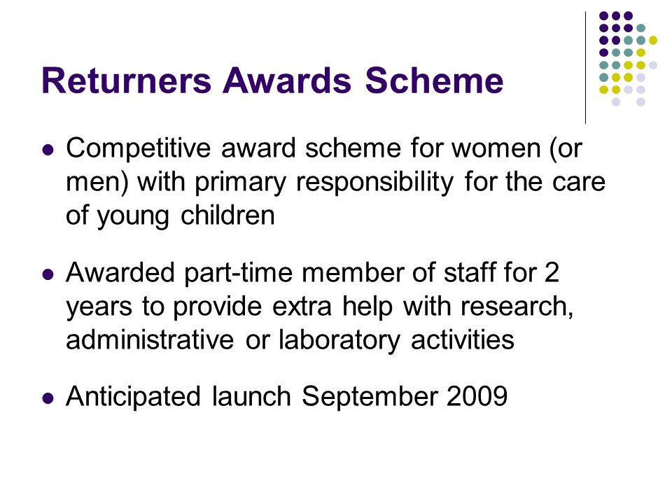 Returners Awards Scheme Competitive award scheme for women (or men) with primary responsibility for the care of young children Awarded part-time member of staff for 2 years to provide extra help with research, administrative or laboratory activities Anticipated launch September 2009