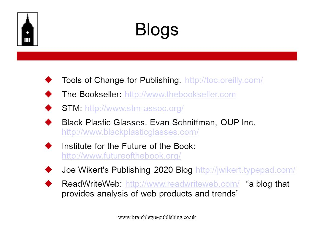 Blogs Tools of Change for Publishing.