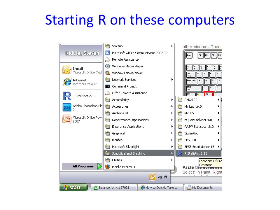 Starting R on these computers
