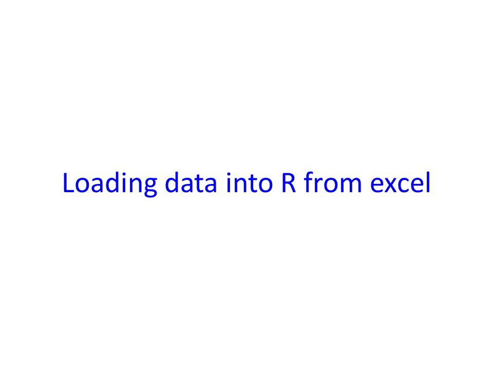 Loading data into R from excel