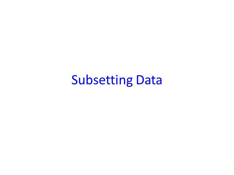 Subsetting Data