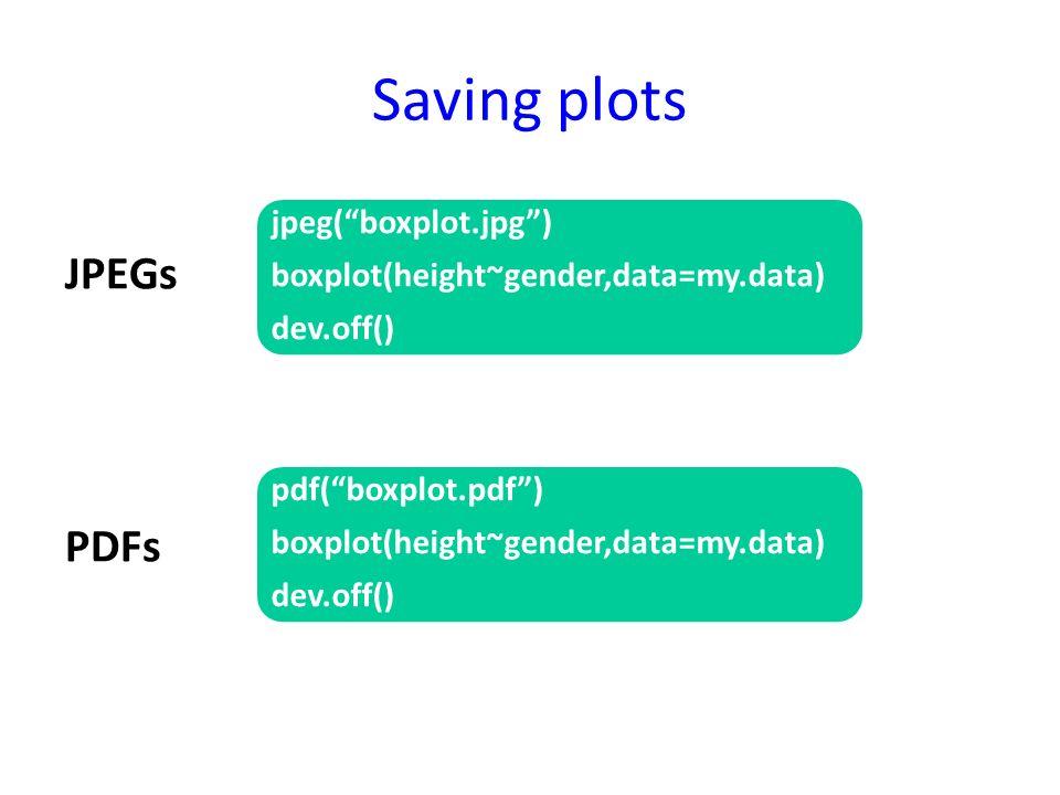Saving plots JPEGs PDFs jpeg(boxplot.jpg) boxplot(height~gender,data=my.data) dev.off() pdf(boxplot.pdf) boxplot(height~gender,data=my.data) dev.off()